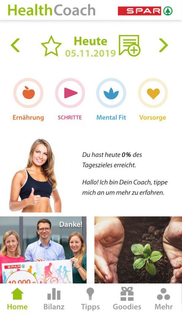 Gesundheitsapp Health Coach von Spar